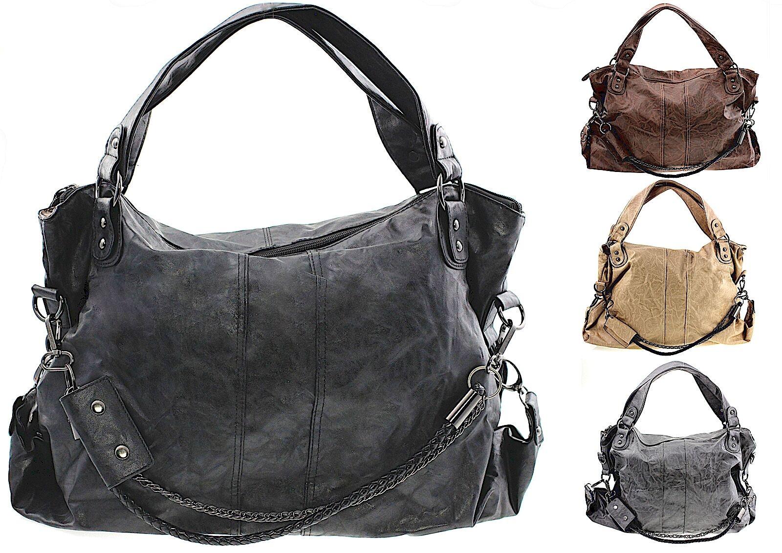 Handtasche Damen gross schwarz Henkeltasche Tasche Schultertasche Shopper groß