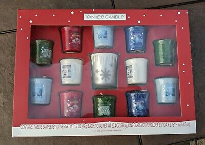Yankee Candle 12 Sampler Votives w/ Glass Snowflake Holder Christmas NIB