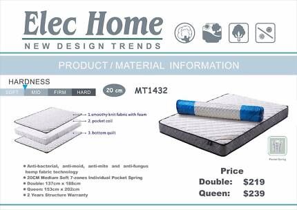 Brand New Double/Queen size Pocket Spring SOFT Mattress