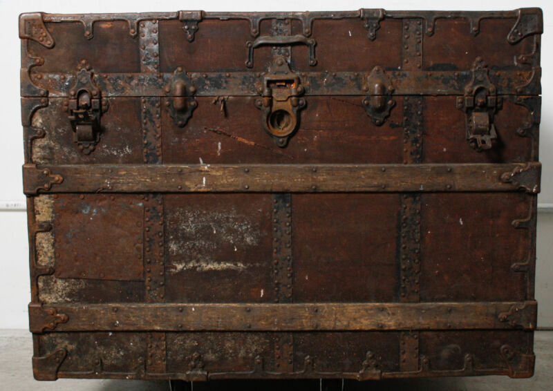 Antique C A Taylor Trunk Works Rustic Steampunk Chest Steamer Trunk