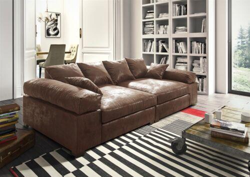 Big Sofa Couchgarnitur Megasofa Riesensofa AREZZO - Vintage Hellbraun