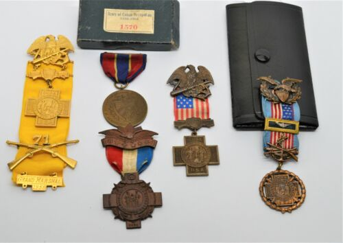 Spanish American War Veterans Medals Lot of 5 Pieces As Is