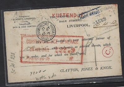 BRITISH LEVANT OFFICES IN TURKEY (P1410B)  GB KE 1D 1908 WITH ORIENT EXPRESS K