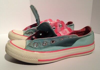 Converse Women's Teal & Pink Striped Double Tounge Shoes Size 6