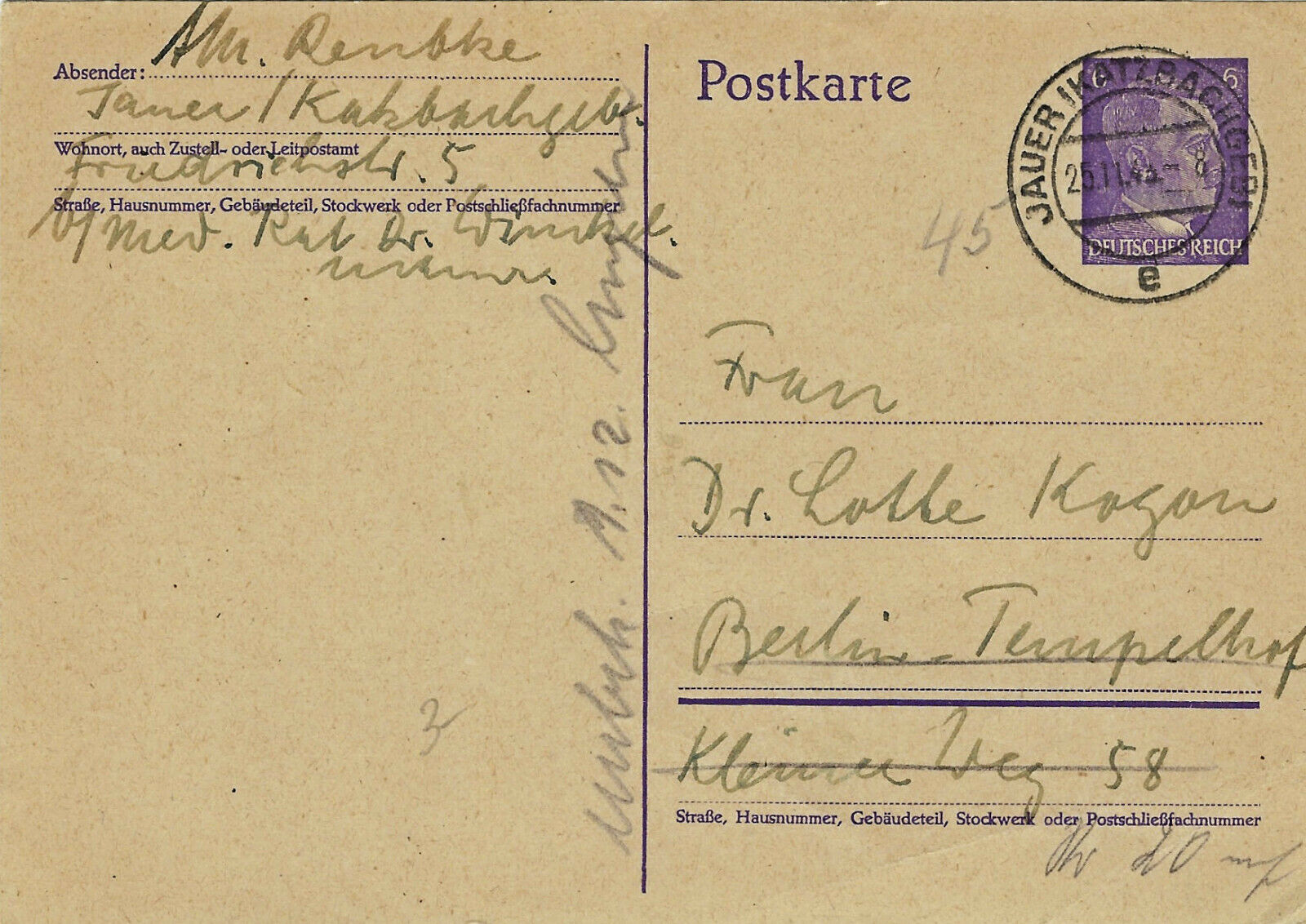 GERMANY 6pf 510, HITLER HEAD STAMP On POST CARD LOT 324 - $4.50