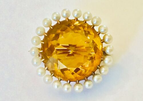 """Antique Victorian 14K Yellow Gold Citrine & Seed Pearl 1"""" Pin ~ Mint"""