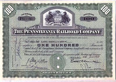 Pennsylvania Railroad Company Stock Certificate Green State (Pennsylvania Railroad Company)