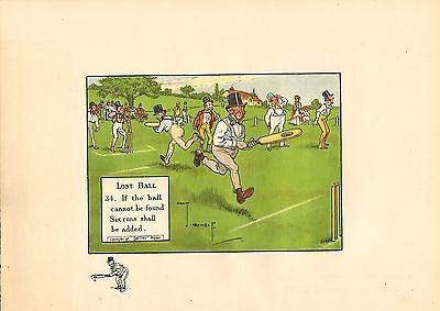 1905 laws of cricket  original colour print -  lost ball  !