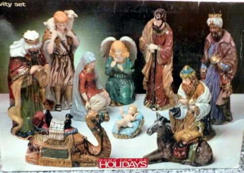 "2003 May Dept 11 Pc. 12"" Porcelain NATIVITY Figurines Mary Joseph Jesus Angel"