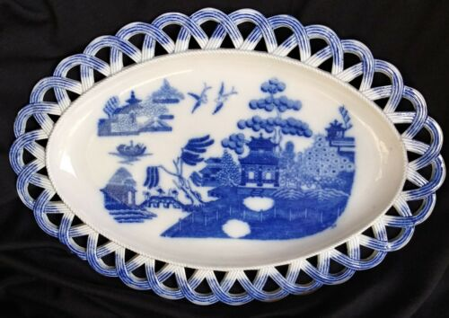 True Antique Reticulated Herculaneum Blue Willow Oval Platter Pierced Lace