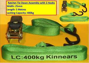 4 BRAND NEW 25 mm x 5.0 metres - LC 400kg KINNEARS RATCHET TIE DO