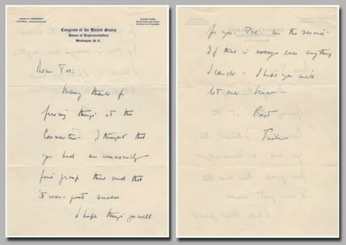 Kennedy, John F. (1917-1963) – scarce autograph letter signed