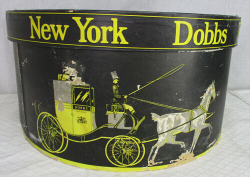 Vintage Dobbs Fifth Avenue New York Horse and Carriage Black and Gold Hat Box