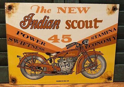 VINTAGE 1938 DATED INDIAN SCOUT MOTORCYCLES PORCELAIN GASOLINE & MOTOR OIL SIGN