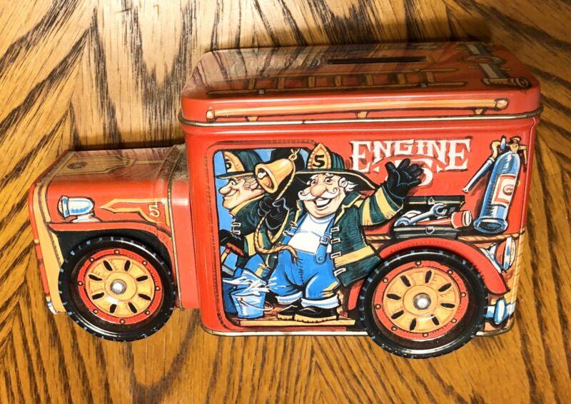 Vintage Metal Engine 5 Firetruck Bank Tin Box