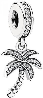 New Authentic Pandora 791540Cz Charm Palm Tree Travel Cz Sterling Silver Bead