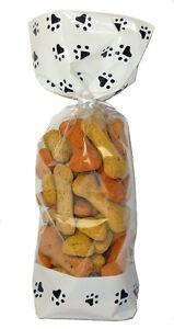 50 x DOG CAT PUPPY PAW PRINT Pet Gift Bag Block Bottom Clear Cello Treat Bag