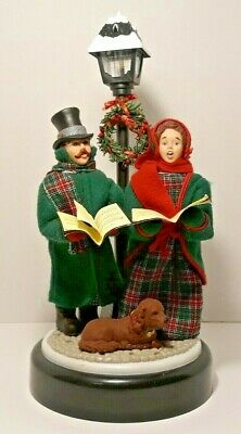 Vintage Musical Extended Lighted Lamp Post Carolers w/Dog Holiday Creations 1993