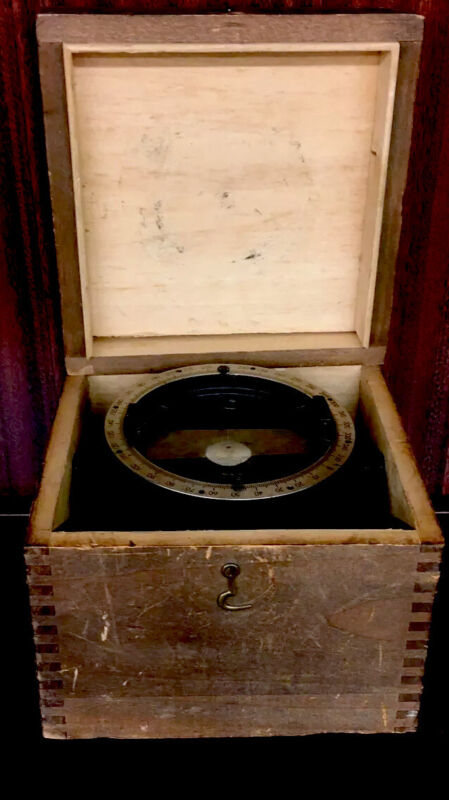 Antique Vintage Compass Navy Ship Floating Brass and Wood Box Dovetail Maritime