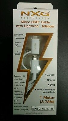 Micro USB Cable w/ Lightning Adapter Certified to meet Apple Standards NXG