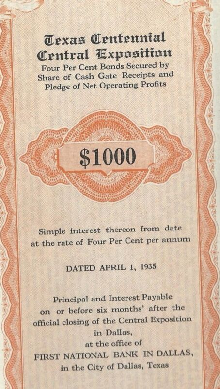 1936 Texas Centennial Bond $1000 to pay for State Fair
