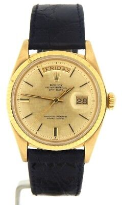 Mens Rolex Day-Date President 18K Yellow Gold Watch Brown Band Linen Dial 1803