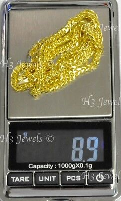 8.90 Grams 14k Solid Yellow Gold Foxtail Wheat Chain Necklace 24 Inches 7568 - $525.00