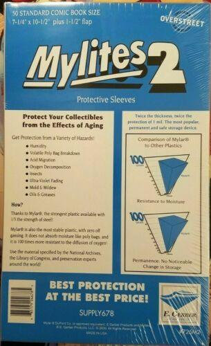 """E Gerber 50-Count *MYLITES 2 COMIC BAGS* Standard-Size 7-1/4"""" x 10-1/2"""" 725M2"""