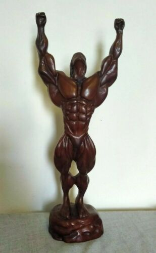 "NEW ASIAN STATUE BODYBUILDER MADE OF RESIN 13"" H WEIGHS 975 GRAMS BEAUTIFUL"