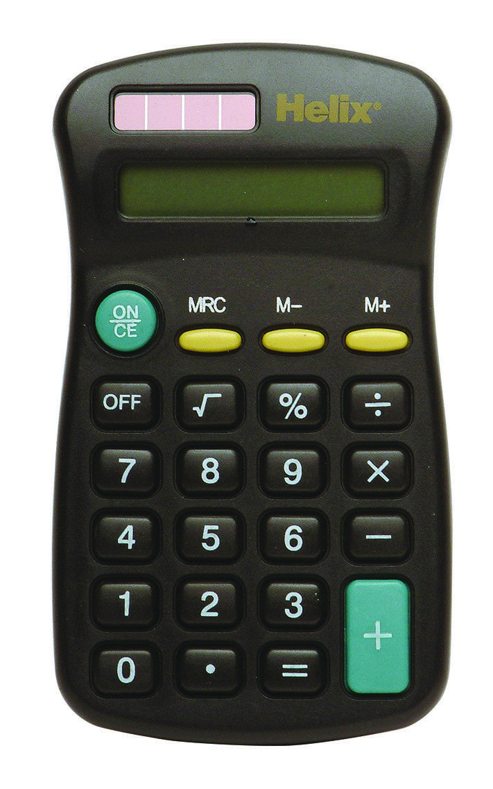 HELIX SMALL 8 DIGIT DISPLAY MINI POCKET SIZE CALCULATOR for Home School Office