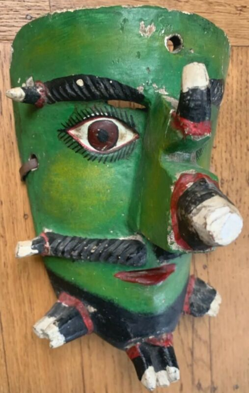 Mexican Caiman Mask Carved Painted Wood Antique Guerrero Mexico Pochote Spines