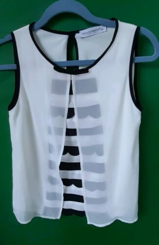 Rinascimento Shirt Bluse extravagant Ärmellos Italy Gr.34 XS TOP Zustand