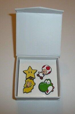 Super Mario Lapel Pin Set in Box Princess Toad Yoshi Power Up Star NINTENDO SNES