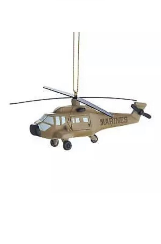 USMC US MARINE CORPS HELICOPTER CHRISTMAS ORNAMENT NEW WITH TAGS