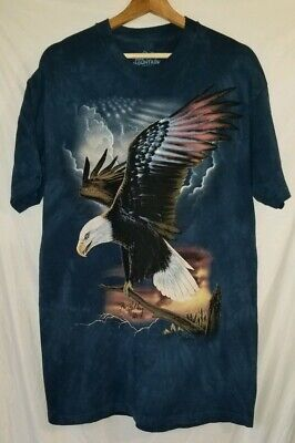 Eagle Wings Blue Tie-Dyed T-Shirt Rick Kelley 2006 The Mountain USA Large - Blue Eagle Wings