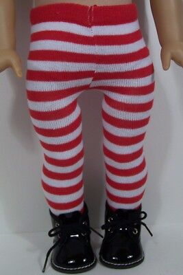Black Patent Boots For Girls (2pc BLACK Patent Boots w/RED Stripe Tights Doll Shoes For 18 American Girl)