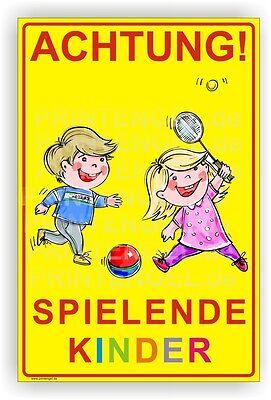 Schild Achtung! Spielende Kinder  Warnschild Alu Verbund 3mm 30X45cm Art.Kind 2