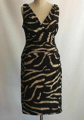 Lauren Ralph Lauren Faux Wrap Sleeveless Dress Brown/Beige Animal Print Sz 6 Animal Print Faux Wrap