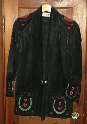 CHAR SANTA FE BLACK SUEDE LEATHER FRINGE CONCHO WESTERN JACKET COAT WOMEN'S - Santa Jacket Women