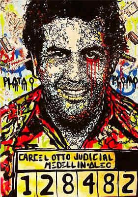 ALEC MONOPOLY PABLO ESCOBAR PRINTED 30X20 INCH FRAMED CANVAS RARE  ARTWORK NEW