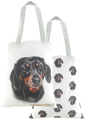 EVANS LICHFIELD MADE IN UK COTTON TOTE CLOTH SHOPPING BAG DACHSHUND SAUSAGE DOG