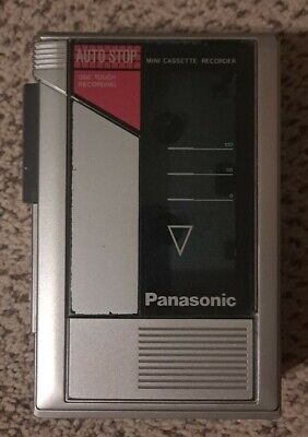 Vintage Panasonic RQ-345 One Touch Mini Cassette Recorder Auto Stop + 7 tapes