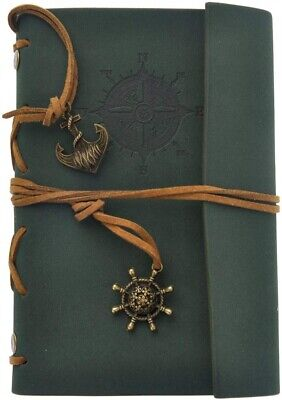 AKORD Vintage Retro Leather Cover Journal Jotter Diary Notebook - Dark Green