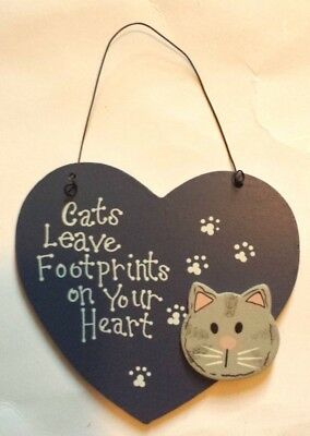 CATS LEAVE FOOTPRINTS WOODEN SIGN WALL DECOR PLAQUE HOME DECOR ORNAMENT - NEW Cat Wall Plaque