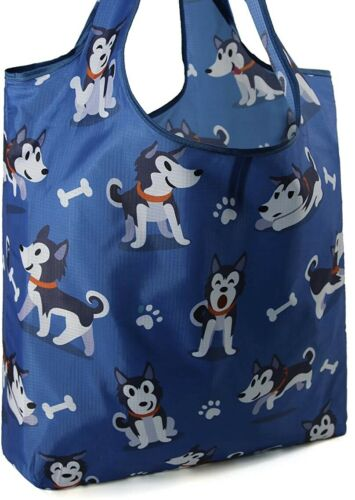 SIBERIAN HUSKY DOG 💕 Reusable LARGE Shopping Grocery Tote Bag 💕 PUPPY New