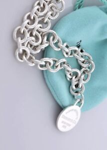 """Authentic Tiffany Round Tag Necklace 16"""""""