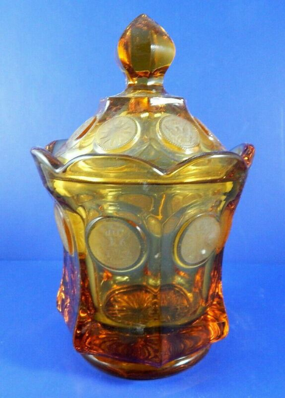"""Amber Clear Glass Candy Dish with Lid 6 1/2"""" Tall x 4 1/4"""" in Diameter"""