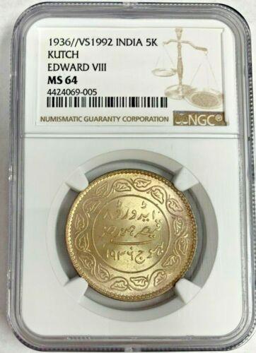India 1936//1992 Princely States Kutch 5 Kori Edward VIII Khengarji III NGC MS64