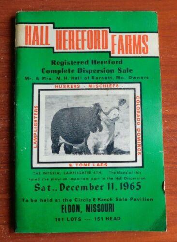 Hall Hereford Farms - 1965 auction sale book - Eldon, Missouri - Dispersion Sale