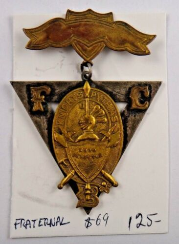 Knights of Pythias FCB Fraternal Pin Pinback Medal Badge